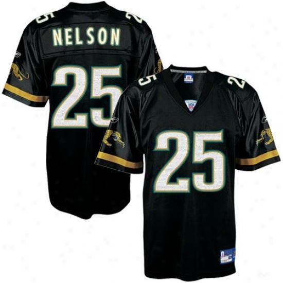 Jaguars Jersey : Reebok Jaguars #25 Reggie Nelson Black Replica Football Jersey
