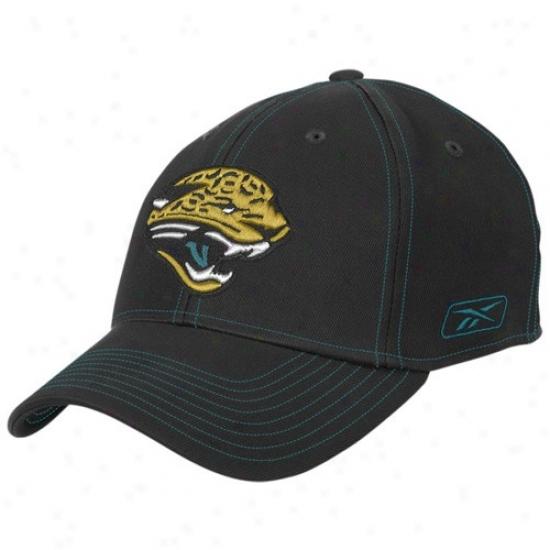 Jaguars Merchandise: Reebok Jaguars Black Structured Flsx Hat