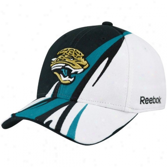 Jaguars Merchandise: Reebok Jaguars Black-white Cut & Sew Adjustable Hat