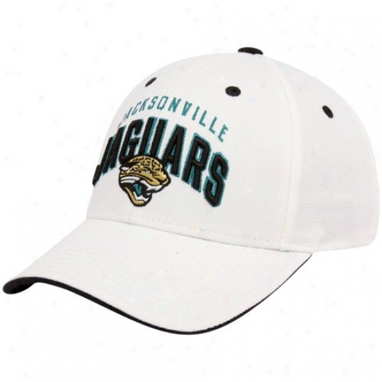 Jaguars Merchandise: Reebok Jaguars White Retro Structured Adjustabble Hat