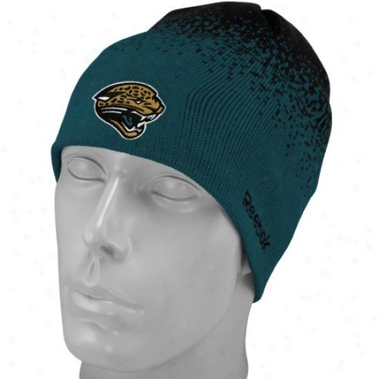Jaguars Merchandise: Reebok Jaguars Youth Teal Fadeout Sideline 2nd Sdason Player Beanie