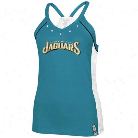 Jaguars Shirt : Reebok Jaguars Ladies Teal Asteroid Racerback Tank Top