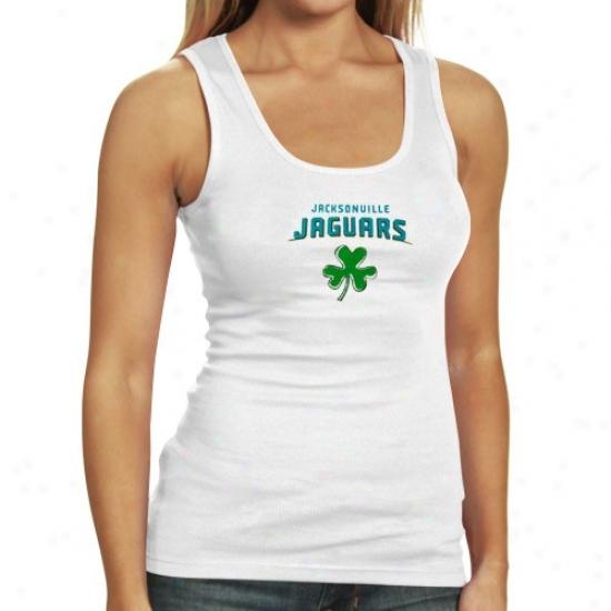 Jaguars Shirts : Reebok Jaguars Ladies White Fortune Tank Top