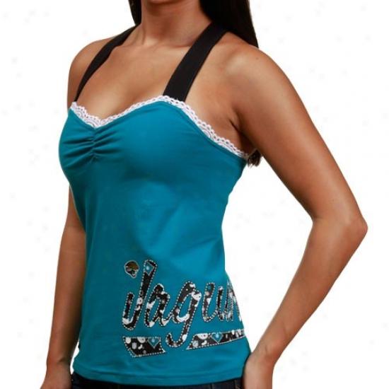Jaguars T-shirt : Reebok Jaguars Ladies Teal Criss-cross Premium Tank Top