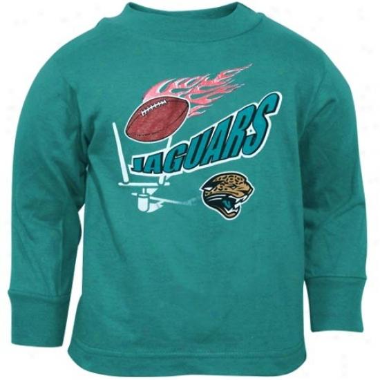 Jaguars T Shirt : Reebok Jaguars Teal Toddler Flaming Football Long Sleeve T Shirt