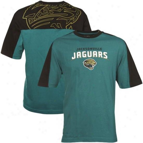 Jaguars Tee : Reebok Jaguars Teal-black Draft Pick Tee