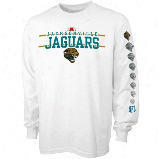 Jaguars Tees : Jaguars White Agitate Attack Long Sleeve Tees