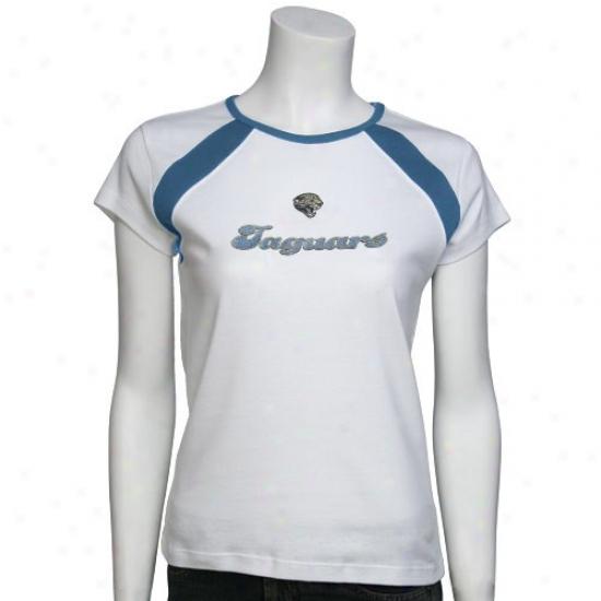 Jaguars Tshirt : Jaguars Ladies White Flashy Tshirt