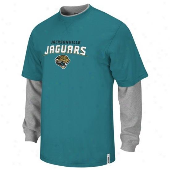 Jaguars Tshirts : Reebok Jaguars Teal-gray Splitter Doubling Stratum Tshirts