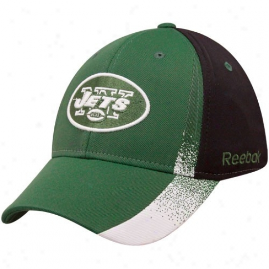 Jets Cap : Reebok Jetq Green-black Spray Paint Strudtured Flex Fit Cap
