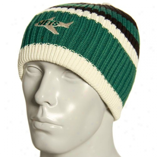 Jets Cardinal's office : Reebok Jets Natural Team Color Striped Knit Beanie