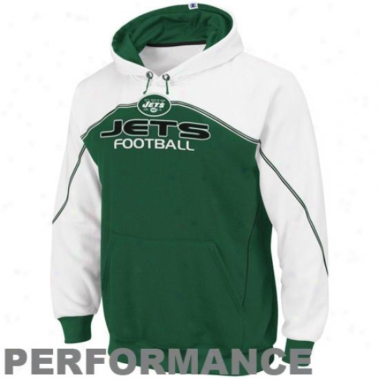 Jets Sweatshirt : Jets Green-white Intimidating Ii Performance Sweatshirt