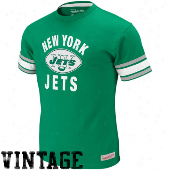 Jets T-shirt : Mitchell & Ness Jets Gre3n Touchdown Vintage Premium T-shirt