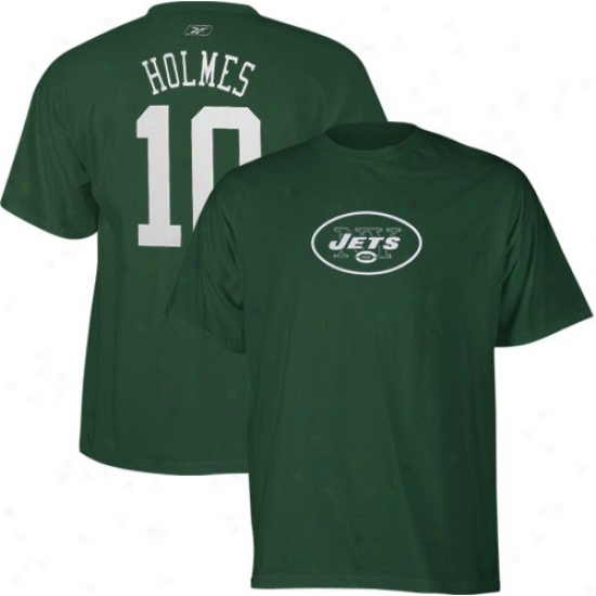 Jets T-shirt : Reebok Jets #10 Santonio Holmes Green Scrimmage Gear Player T-shirt
