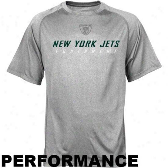 Jets T Shirt : Reebok Nfl Equipment Jets Ash Equipspeed Performmance T Shirt