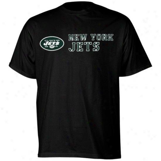 Jets Tshirts : Reebok Jets Black Stealth Stencil Tshirts