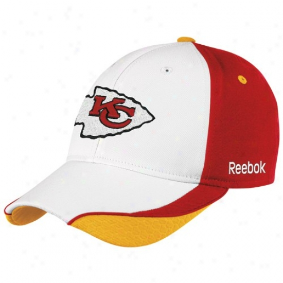 Kansas City Chif Caps : Reebok Kansas City Chief White Sideline Flex Fit Caps