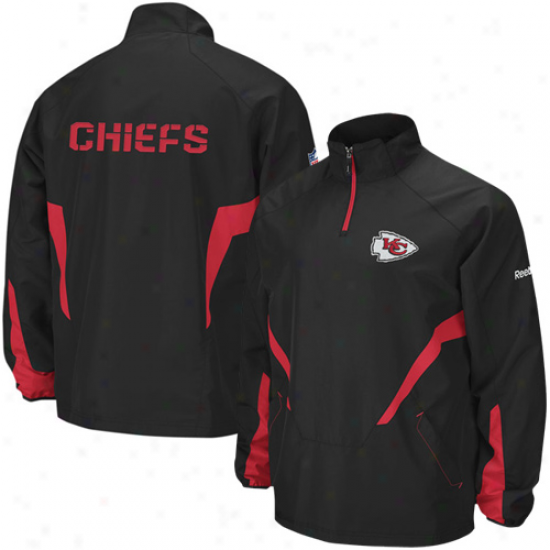 Kansas City Chief Jackets : Reebok Kansas City Chief Black Hot Sideline 1/4 Zip Pullover Wind Jackets