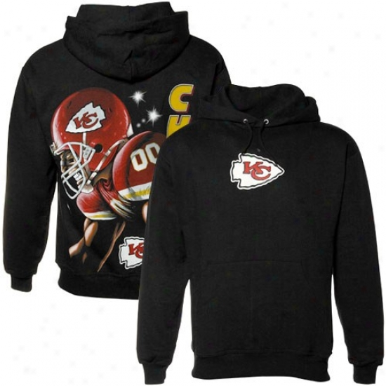 Kansas City Chief Sweatshirts : Kansas City Chief Black Game Face Sweatshirts