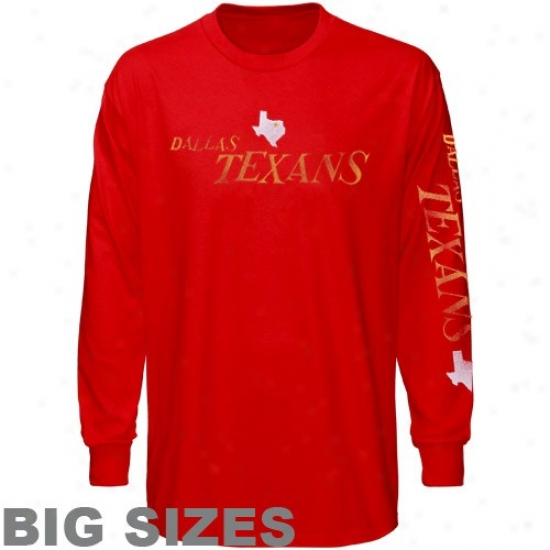 Kansas City Chief Tshirt : Dallas Texans Red Old Time Pride Long Sleeve Great Sizes T-ahirt