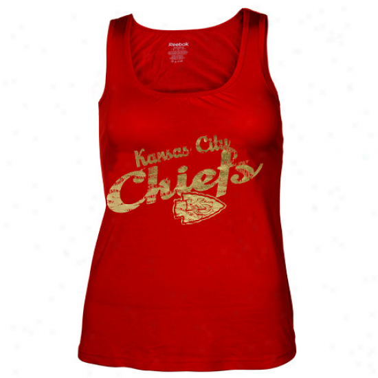 Kansas City Chief T-shirt : Reebok Kansas Cigy Chieftain Ladies Red Rah-rah Shift Tank Top