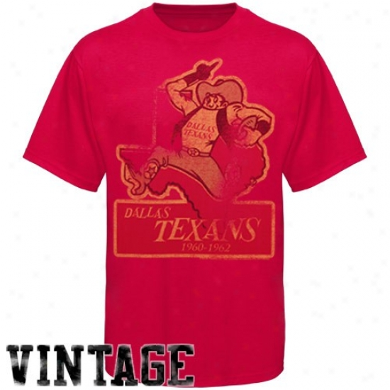 Kansas City Chief Tee : Dallas Texans Red Vintage Distressed Logo Tee