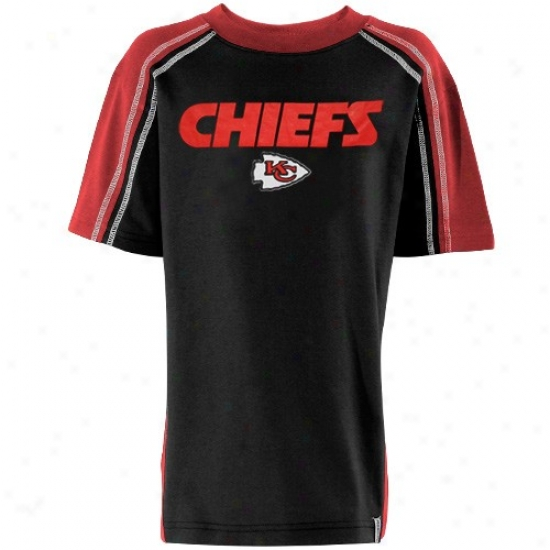 Kansas City Chief Tees : Reebok Kansas City Chief Youth Black Upgrade Tees