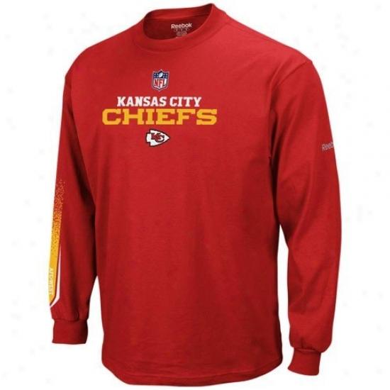 Kansas City Chief Tshirts : Reebok Kansas City Chief Youth Red Optimus Long Sleeve Tshirts