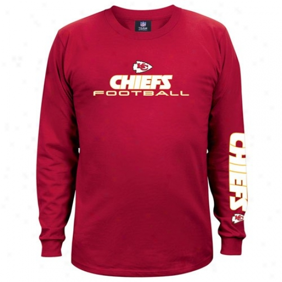 Kansas City Chiefs Apparel: Kansas Ctiy Chiefs Red Team Shine Long Sleeve T-shirt