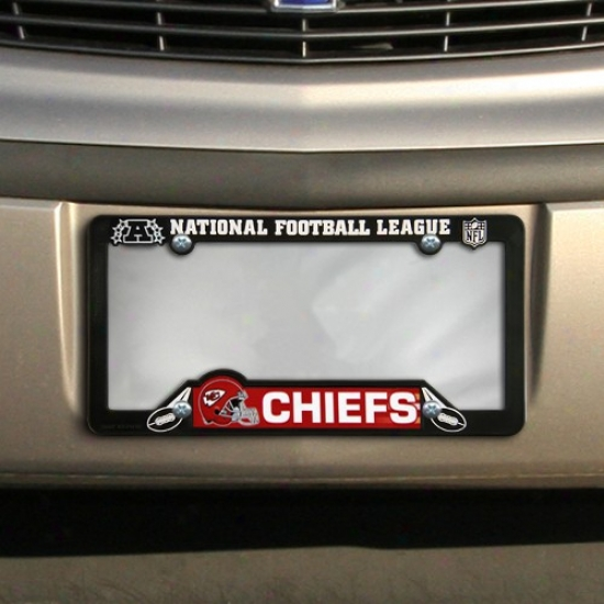Kansas City Chiefs Black Plastic License Plate Frame