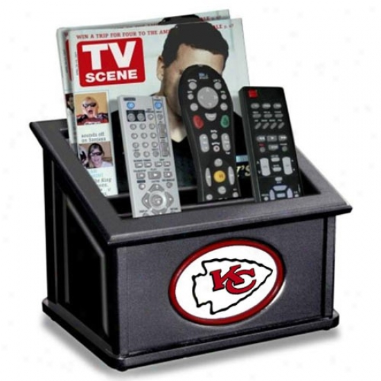 Kansas City Chiefs Black Wooden Team Logo Media Organizer