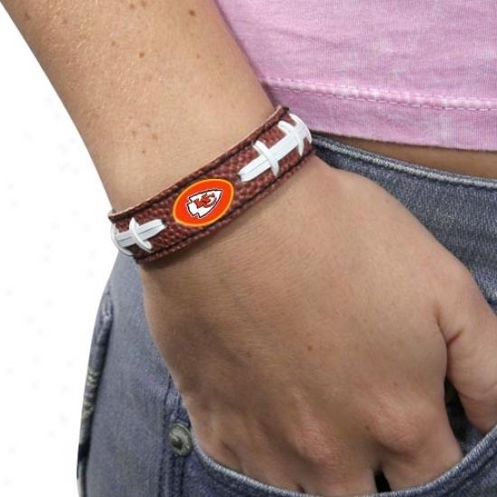 Kansas City Chiefs Brown Football Bracelet