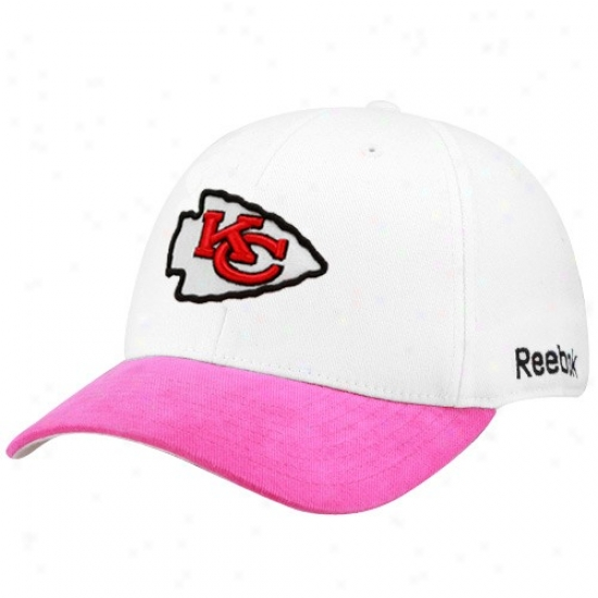 Kansas City Chiefs Caps : Reebok Kansas City Chiefs White-pink Breast Cancer Awareness Flex Be suited Caps