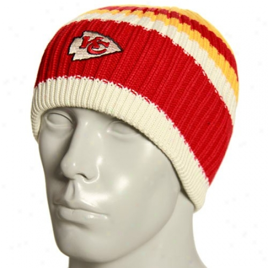 Kansas City Chiefs Gear: Reebok Kansas City Chiefs Natural Team Color Steiped Knit Beanie