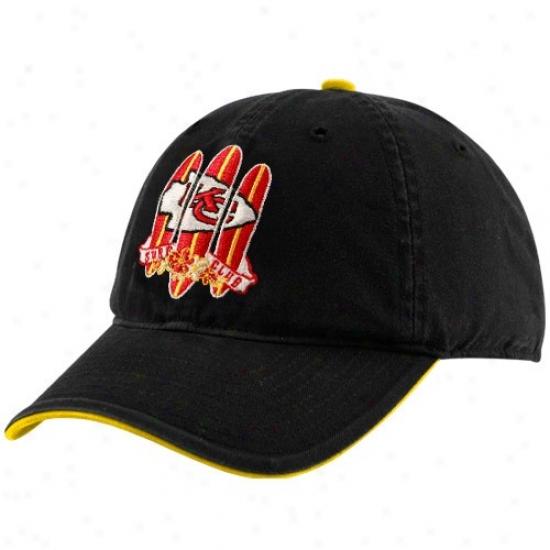 Kansas City Chiefs Hat : Reebok Kansas City Chiefs Black Surf Club Adjustable Slouch Hat