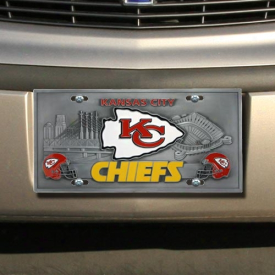 Kansas City Chiefs Heavy-duty Color Pewter Licensr Plate