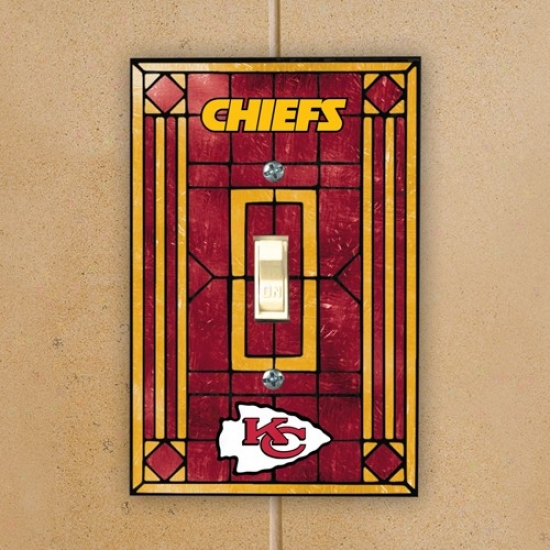 Kansas City Chiefs Red Art-glass Switch Plate Cover