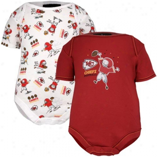 Kansas City Chiefs Red & Print Infant 2-pcak Bodysuit Set
