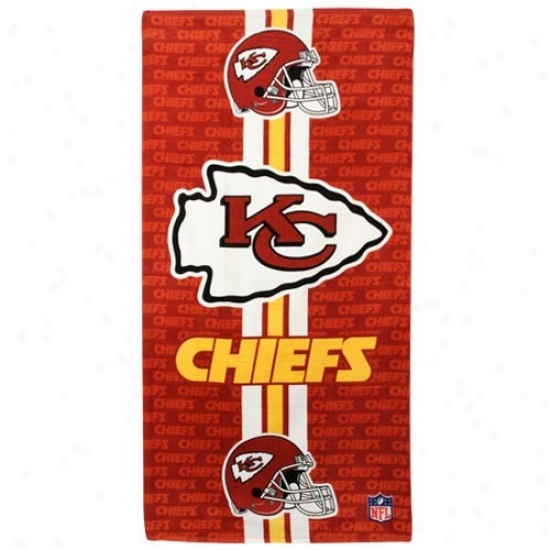 Kansas City Chiefs Red Team Stripe Beach Towel
