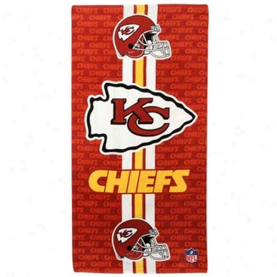 Kansas City Chiefs Red Team Stripe Beach Towel