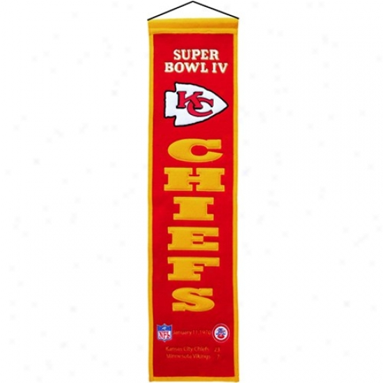 Kansas City Chiefs Super Bowl Iv Champions Red Inheritance Banner