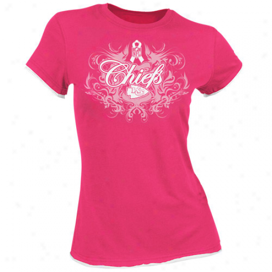 Kansas City Chiefs T-shirt : Reebok Kansas City Chiefs Ladies Pink Breast Cancer Awareness Flourush Tissue Premium T-shirt
