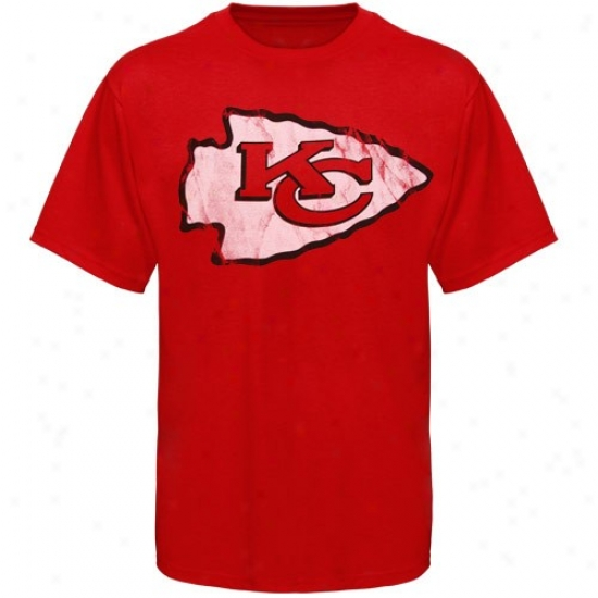 Kansas City Chiefs Tee : Kansas City Chiefs Red Vintage Logo Slim Fit Tee