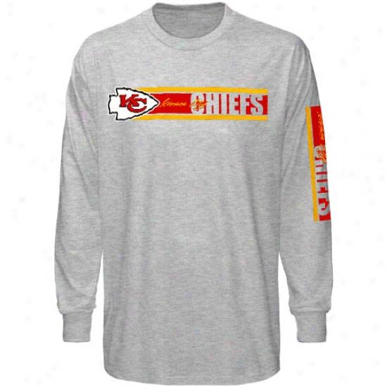 Kansas City Chiefs Tshirr : Reebok Kansas City Chiefs Ash The Stripes Long Sleeve Tshirt