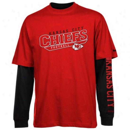 Kansas City Chiefs Tshirts : Reebok Kansas City Chiefs Red-black Option 3-in-1 Tshirts Combo Pack