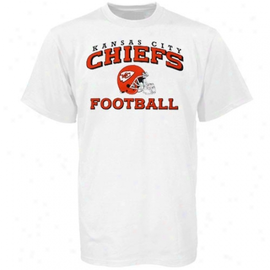 Kc Chief Shirts : Reebok Kc Chieftain Youth White Stacked Helmet Shirts