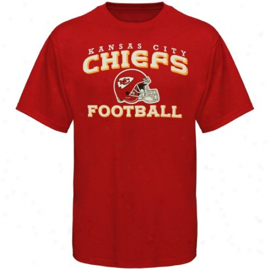 Kc Chieftain T-shirt : Reebok Kc Chief Youth Red Stacked Helmet T-shirt