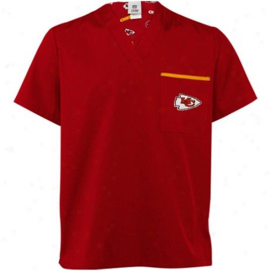 Kc Chief Tshirt : Kc Chief Red Scrub Top