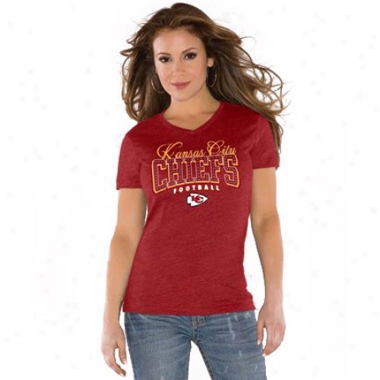 Kc Chief Tshirt : Toych By Alyssa Milano Kc Chief Red V-neck Tri-blend Tshirt