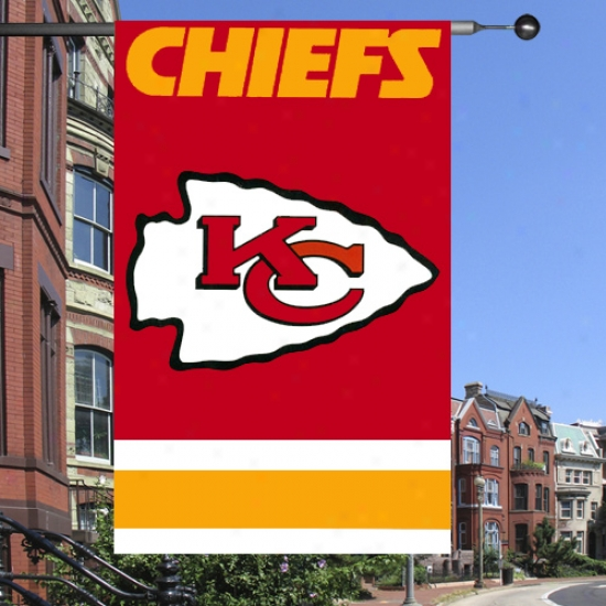 """kc Chiefs Flags : Kc Chiefs Premium Quality 44""""x28"""" Applique Flags"""